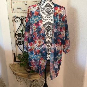 Floral colorful print kimono